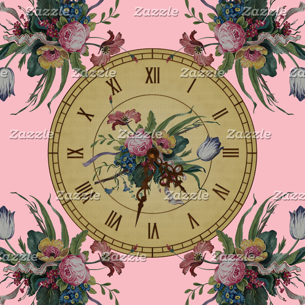 Vintage Clock with Flowers