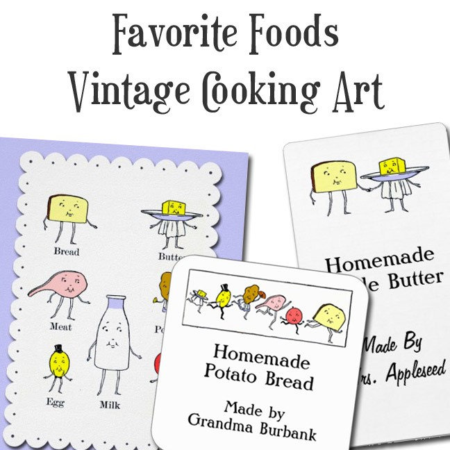 Food Groups Vintage Cooking Art
