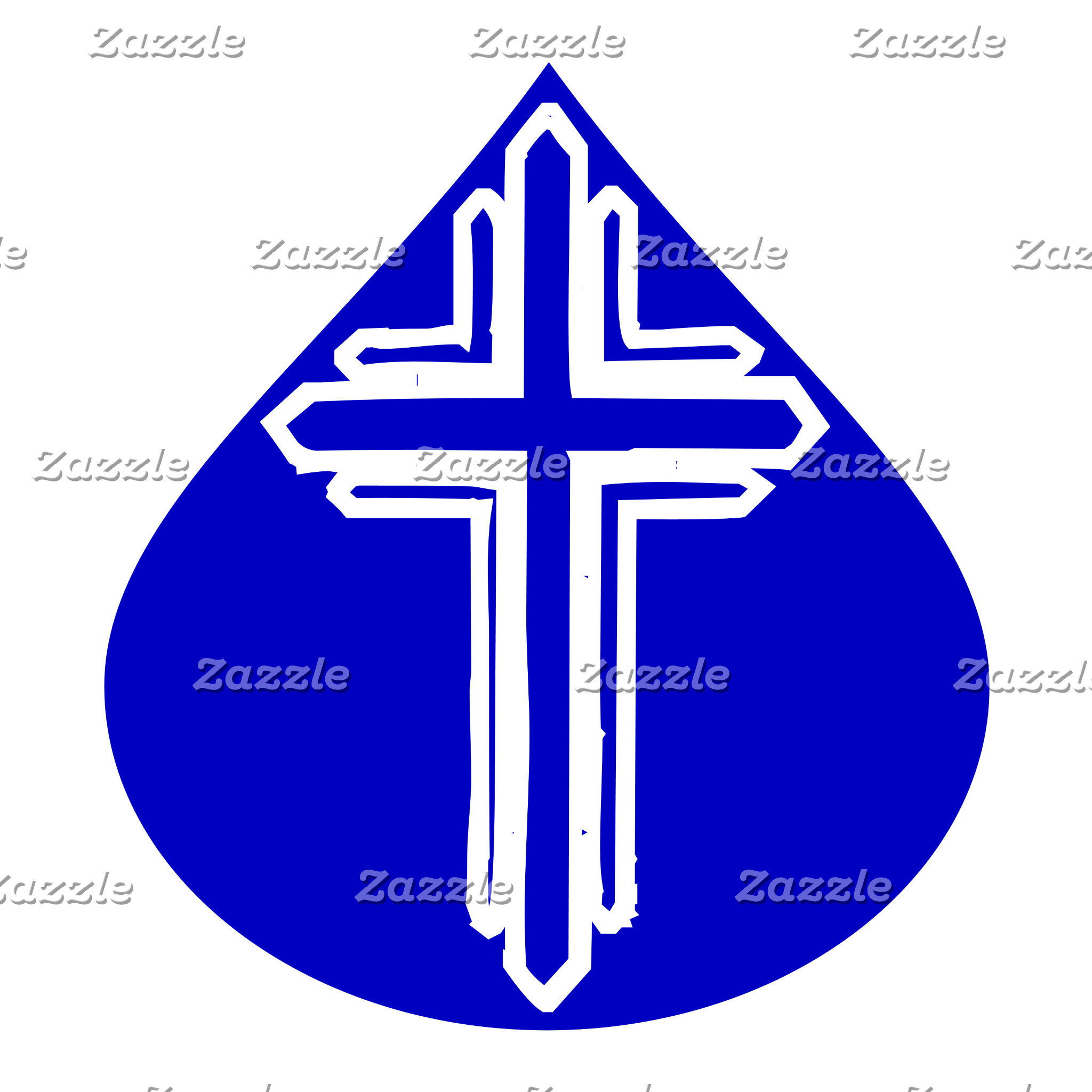 White Cross in Blue Teardrop