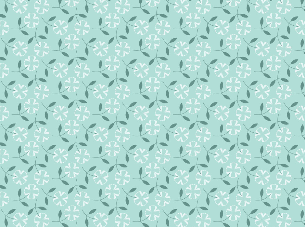 Little White Flowers & Mint Green Pattern