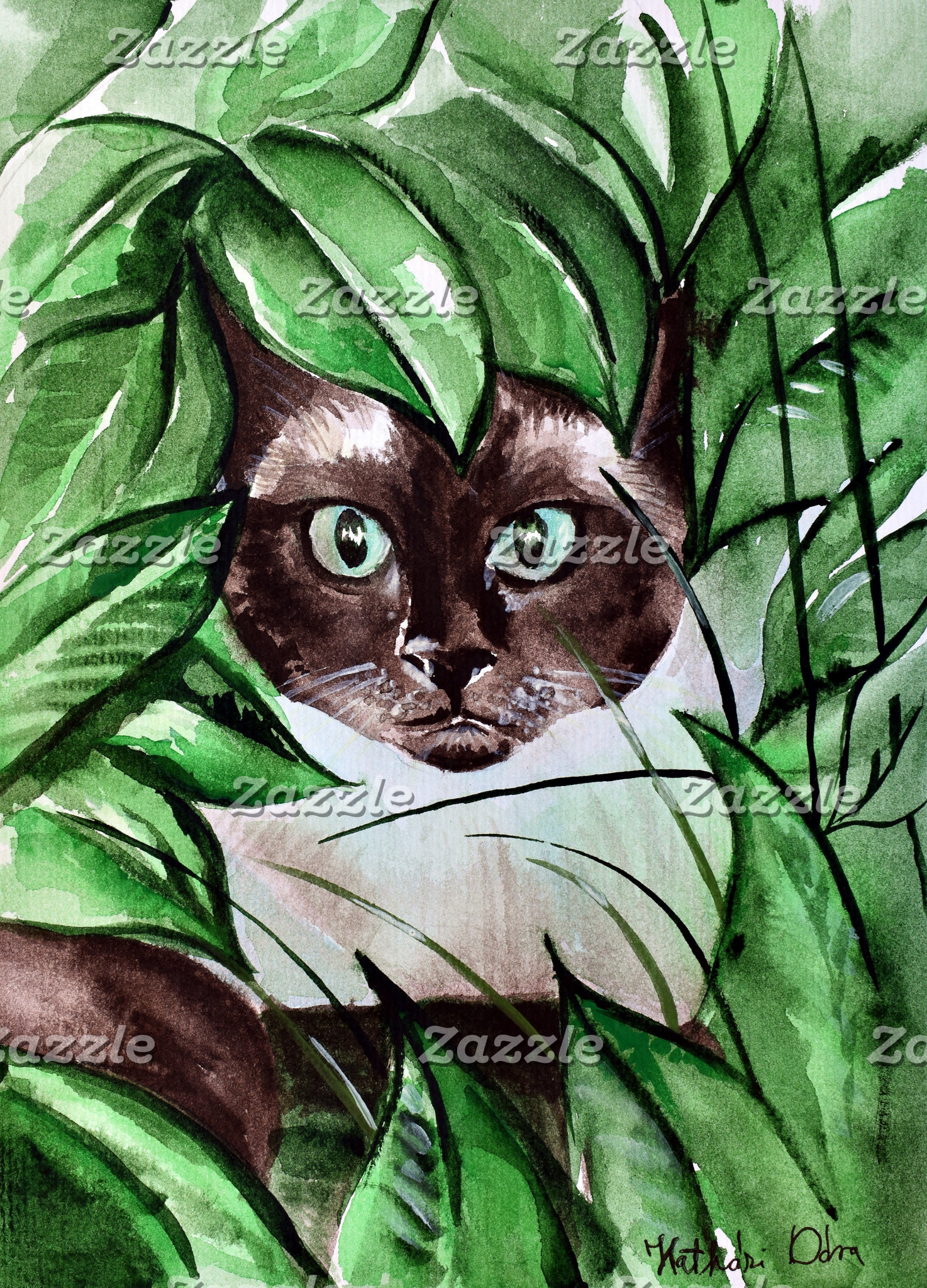 Cat Art - Peek A Boo Siamese
