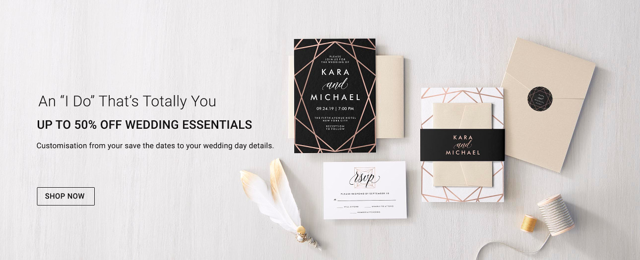 Up to 50% off Wedding Invitations and more