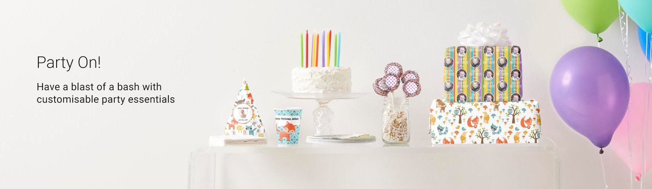 Party On! Have a blast of a bash with customisable party essentials such as party hats, paper plates and cups and more!