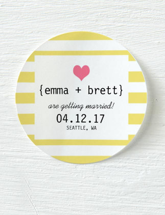 Wedding Stickers - Yellow, Candy Stripe, Save The Date Sticker