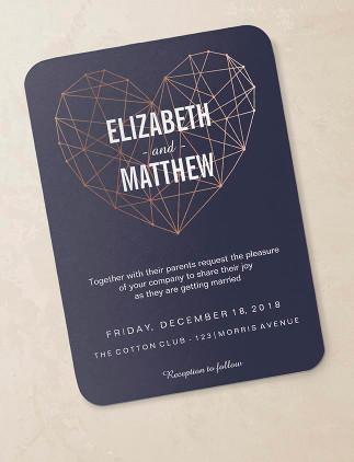 Wedding Invitations - Rose Gold and navy heart wedding invitation