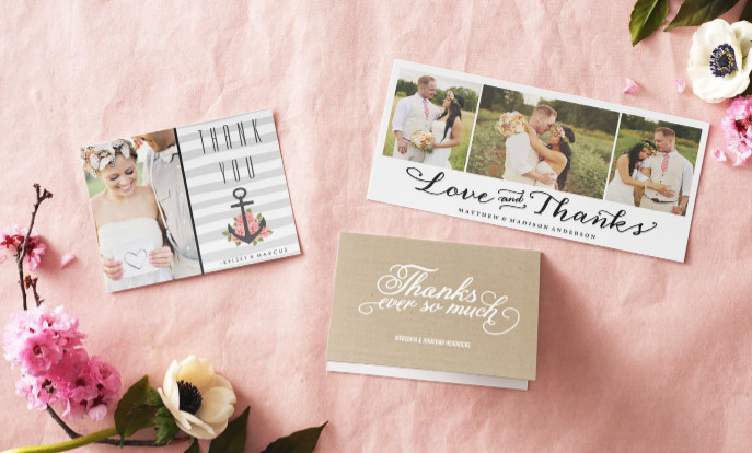 Browse our collection of wedding thank you cards that you can customize!