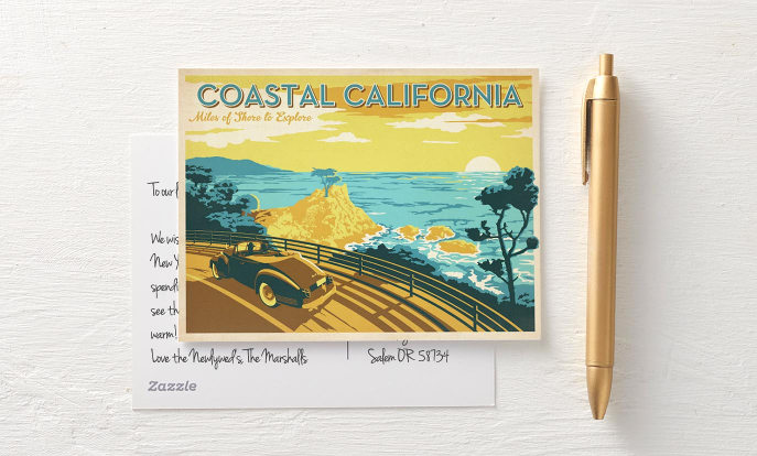 California Coast Vintage Travel Postcard