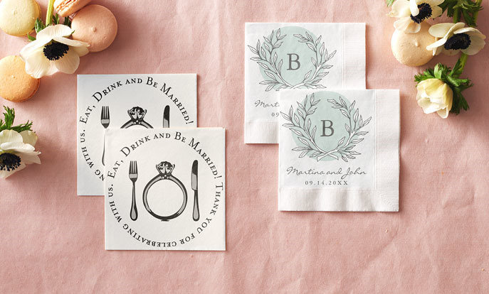 Browse our collection of wedding paper napkins that you can customize!