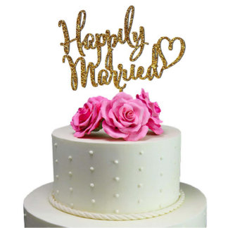 Happily Married Heart Wedding Cake Toppers