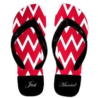 Red and White Chevron Wedding Party Flip Flops