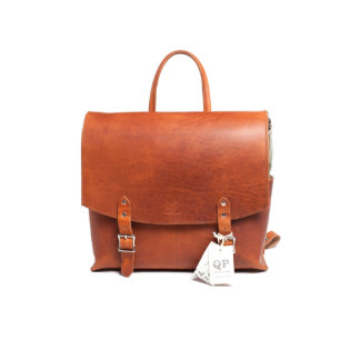 Tan Leather and Green Canvas Messenger Backpack