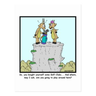 Golf clubs: Mountain Goat cartoon Postcard