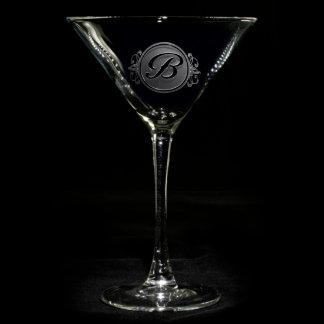 Elegant Script Monogrammed Martini Glass