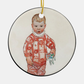 Sven with Dala Horse and Chisel Ceramic Ornament