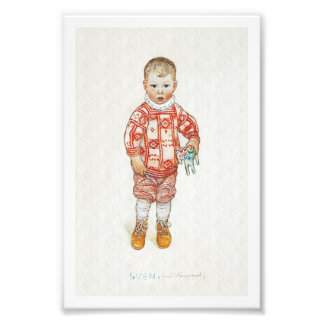 Sven with Dala Horse and Chisel Photo Print
