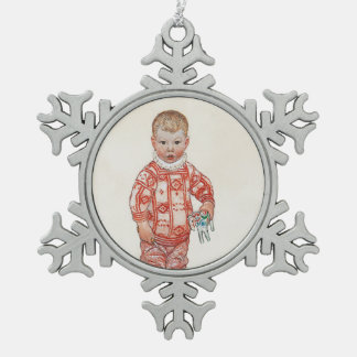 Sven with Dala Horse and Chisel Snowflake Pewter Christmas Ornament