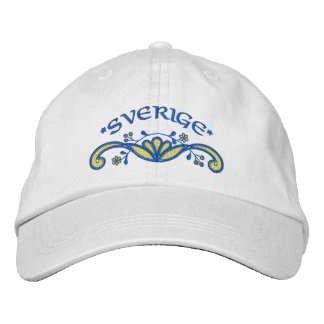 Sverige: Sweden Flourish Embroidered Baseball Caps