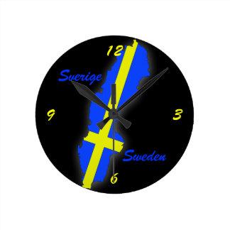 Sverige = Sweden Map Round Clock