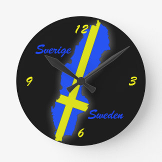 Sverige = Sweden Map Wallclocks