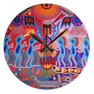SW Huichol Peyote Ritual Ceremony Wall Clock