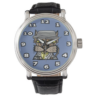"""Swagger"""" Black Vintage Leather Watch"""