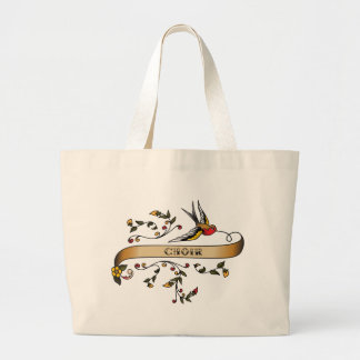 Swallow and Scroll with Choir Large Tote Bag