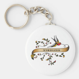 Swallow and Scroll with Hurdling Key Ring
