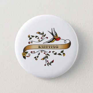 Swallow and Scroll with Knitting 6 Cm Round Badge