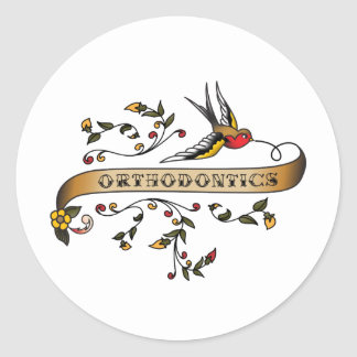 Swallow and Scroll with Orthodontics Classic Round Sticker