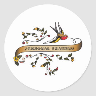 Swallow and Scroll with Personal Training Round Sticker