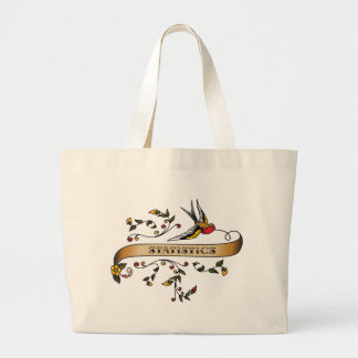 Swallow and Scroll with Statistics Large Tote Bag