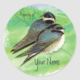 Swallow, Bird, Nature, Wildlife Watercolor Classic Round Sticker