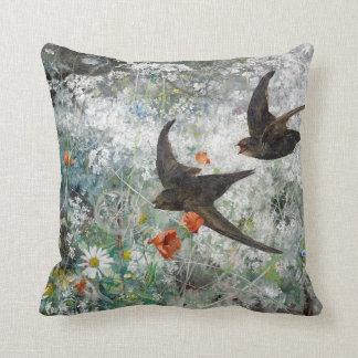 Swallow Bird Wildflower Meadow Floral Throw Pillow