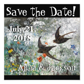 Swallow Birds Wildflowers Save Date Magnet Card