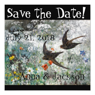 Swallow Birds Wildflowers Save Date Magnet Card Magnetic Invitations