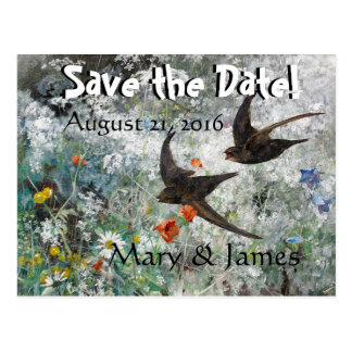 Swallow Birds Wildflowers Save the Date Postcard