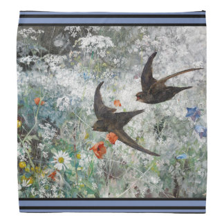 Swallow Birds Wildlife Wildflower Flowers Bandana
