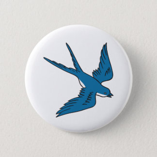Swallow Flying Down Drawing 6 Cm Round Badge