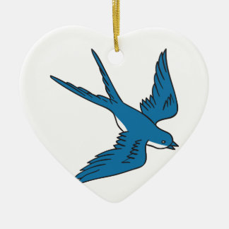 Swallow Flying Down Drawing Ceramic Ornament