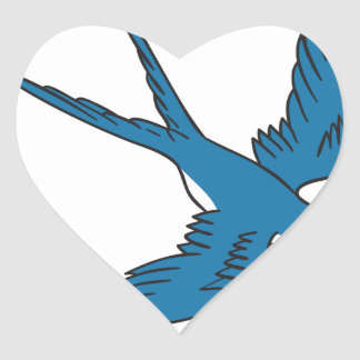 Swallow Flying Down Drawing Heart Sticker