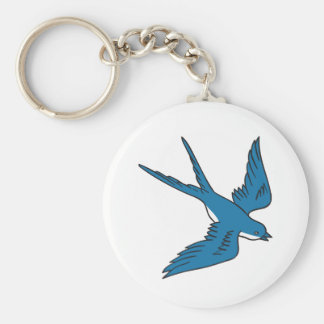 Swallow Flying Down Drawing Key Ring