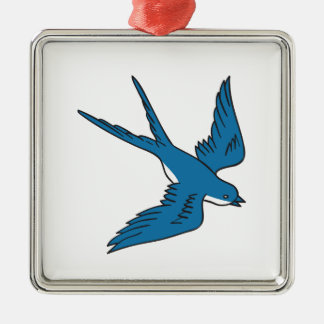 Swallow Flying Down Drawing Metal Ornament