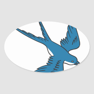 Swallow Flying Down Drawing Oval Sticker