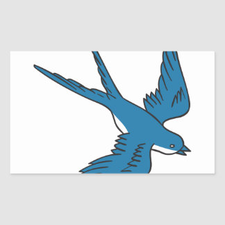 Swallow Flying Down Drawing Rectangular Sticker