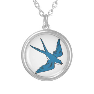 Swallow Flying Down Drawing Silver Plated Necklace
