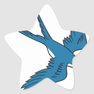 Swallow Flying Down Drawing Star Sticker