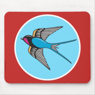 Swallow in blue sky mouse pad