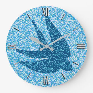 Swallow in Flight Textile, Cobalt Blue and White Clock