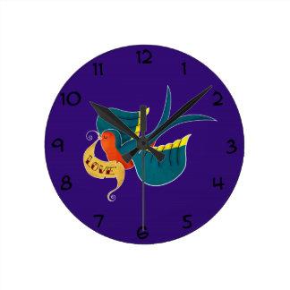 Swallow in Love Wall Clocks