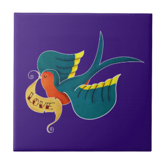 Swallow in Love Small Square Tile